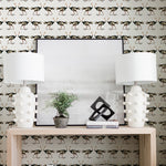 colored detailed ostrich design pattern on white background Removable Peel and Stick Wallpaper in room