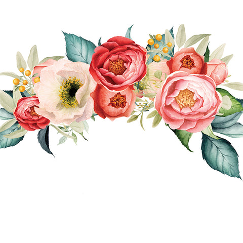 Peony flower bouquet removable wall decals