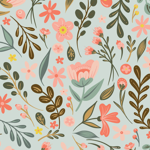 pink brown and blue floral design pattern on light blue background Removable Peel and Stick Wallpaper