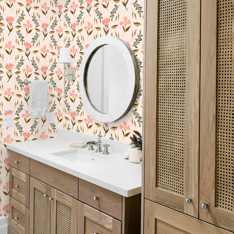 pink tan and dark green floral design pattern on peach colored background Removable Peel and Stick Wallpaper sample size