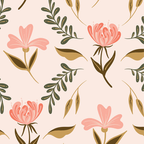 pink tan and dark green floral design pattern on peach colored background Removable Peel and Stick Wallpaper