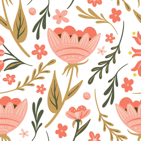 pink green and brown floral design pattern on white background Removable Peel and Stick Wallpaper