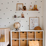 black polka dot pattern Removable Wall Decals on white background in kids room