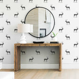 illustrated black and white antelope pattern on white background Removable Peel and stick wallpaper in living room