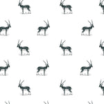 illustrated black and white antelope pattern on white background Removable Peel and stick wallpaper