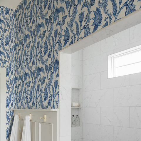 White Navy Blue Royal Elegant Leaves and Nature Peel and Stick Removable Wallpaper