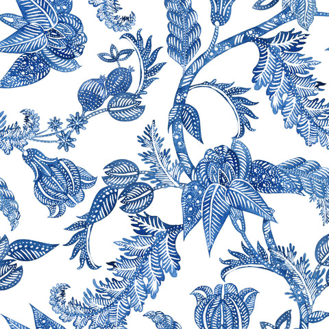 White Navy Blue Royal Elegant Leaves and Nature Peel and Stick Removable Wallpaper Pattern
