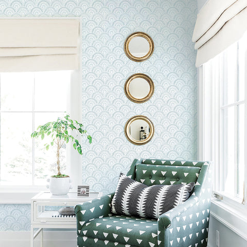 light blue elegant shapes and lines design pattern on white background Removable Peel and Stick Wallpaper sample size