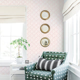 rose pink elegant shapes and lines design pattern on white background Removable Peel and Stick Wallpaper in living room