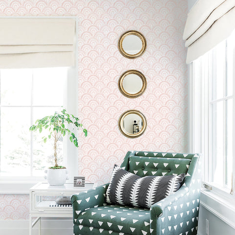 rose pink elegant shapes and lines design pattern on white background Removable Peel and Stick Wallpaper sample size