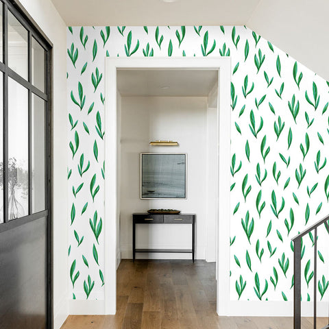 green leaf design pattern on white background Removable Peel and Stick Wallpaper sample size