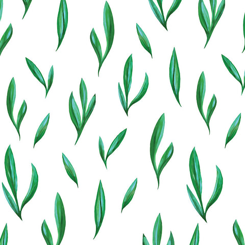 green leaf design pattern on white background Removable Peel and Stick Wallpaper