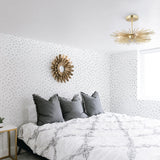 mint and grey colored spots design pattern on white background Removable Peel and Stick Wallpaper in bedroom