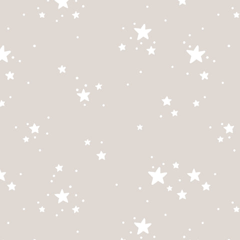 cartoon style white stars on tan background Removable Peel and Stick Wallpaper
