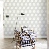 dark geometric lines and shapes white background Removable Peel and Stick Wallpaper in living room