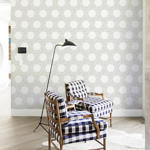dark geometric lines and shapes white background Removable Peel and Stick Wallpaper sample size