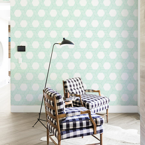 emerald green geometric lines and shapes geometric background Removable Peel and Stick Wallpaper sample size