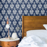 Navy Blue White Torch Peel and Stick Removable Wallpaper