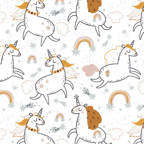 cartoon style white and orange unicorn and rainbow design pattern on white background peel and stick wallpaper
