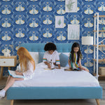 Blue and white butterfly wallpaper removable peel and stickwhite light blue and yellow butterfly pattern on indigo blue background Removable Peel and Stick Wallpaper in kids room