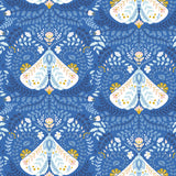 white light blue and yellow butterfly pattern on indigo blue background Removable Peel and Stick Wallpaper