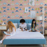 white blue and yellow butterfly pattern on pink background Removable Peel and Stick Wallpaper in kids room
