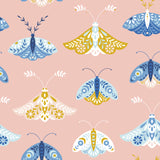 white blue and yellow butterfly pattern on pink background Removable Peel and Stick Wallpaper