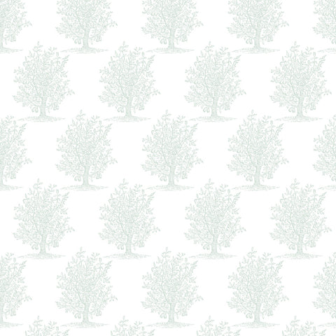 baby green vintage tree design pattern on white background Removable Peel and Stick Wallpaper