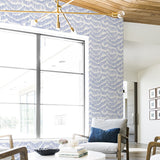 indigo blue illustrated line mark design pattern on white background Removable Peel and Stick Wallpaper in living room