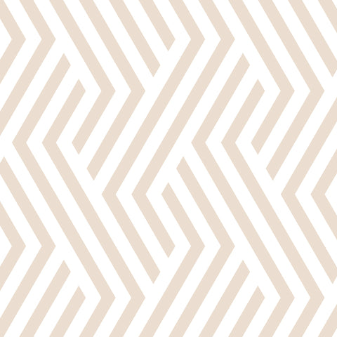 sand beige geometric line design pattern on white background Removable Peel and Stick Wallpaper