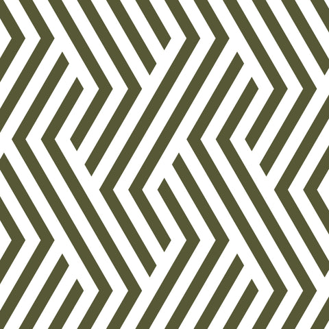 seaweed green geometric line design pattern on white background Removable Peel and Stick Wallpaper