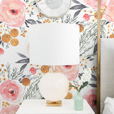 watercolor pink black and yellow rose flower pattern on white background Removable Peel and Stick Wallpaper in bedroom