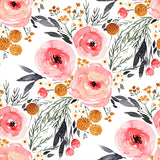 watercolor pink black and yellow rose flower pattern on white background Removable Peel and Stick Wallpaper
