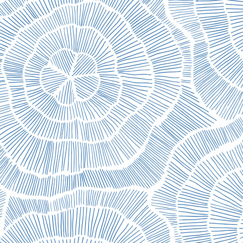 blue elegant and geometric floral design pattern on white background Removable Peel and Stick Wallpaper