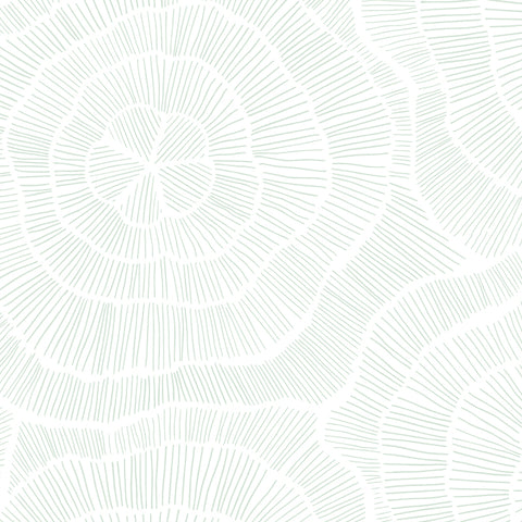 mint green elegant and geometric floral design pattern on white background Removable Peel and Stick Wallpaper