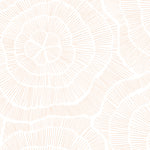 peach colored elegant and geometric floral design pattern on white background Removable Peel and Stick Wallpaper