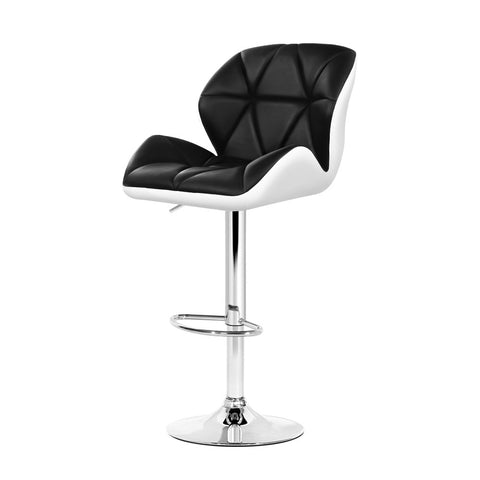 Artiss 2x Kitchen Bar Stools Swivel Bar Stool Chairs Leather Gas Lift Black