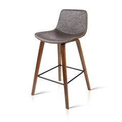 Artiss Set of 2 PU Leather Bar Stools - Walnut