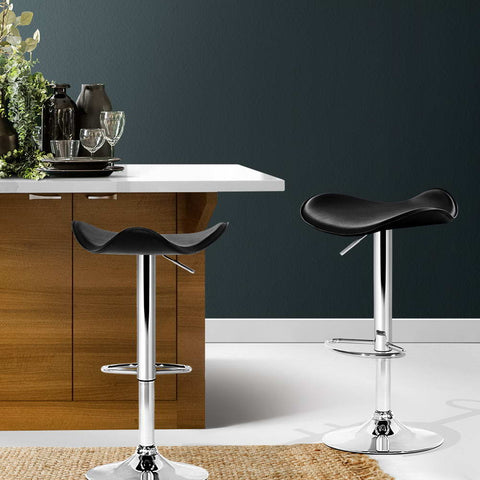Artiss 2x Gas Lift Bar Stools Swivel Chairs Leather Chrome Black