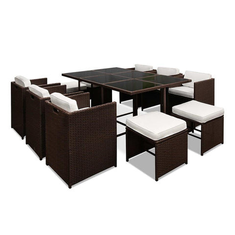 Gardeon 11 Piece PE Wicker Outdoor Dining Set - Brown & White
