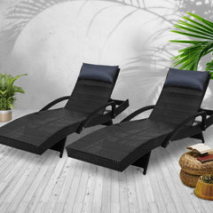 Gardeon Sun Lounge Setting Black Wicker Day Bed Outdoor Furniture Garden Patio