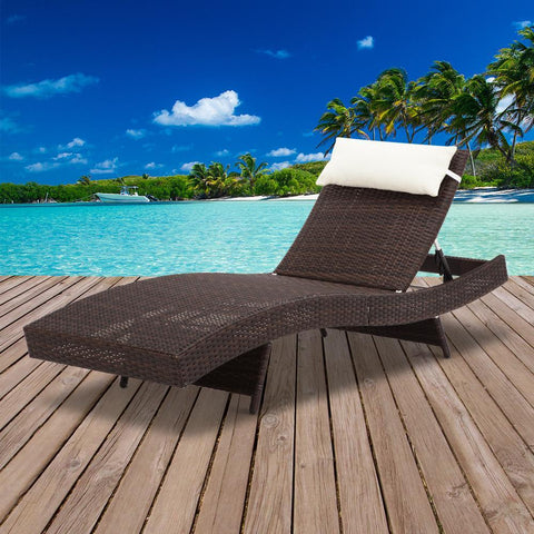 Gardeon Outdoor Wicker Sun Lounge - Brown