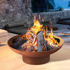 Grillz Rustic Fire Pit Vintage Campfire Wood Burner Rust Outdoor Iron Bowl 70CM