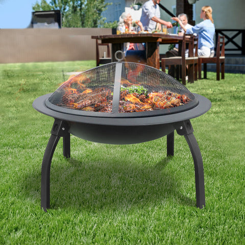 Grillz 30 Inch Portable Foldable Outdoor Fire Pit Fireplace