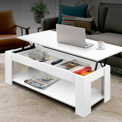 Artiss Lift Up Top Mechanical Coffee Table - White