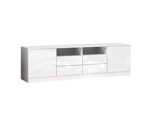 Artiss 180cm TV Cabinet Stand Entertainment Unit High Gloss Furniture 4 Storage Drawers White