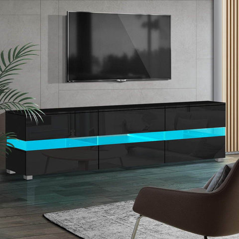 Artiss TV Cabinet Entertainment Unit Stand RGB LED Gloss Furniture 177cm Black