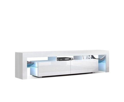 Artiss 189cm RGB LED TV Stand Cabinet Entertainment Unit Gloss Furniture Drawers Tempered Glass Shelf White