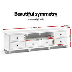 Artiss TV Cabinet Entertainment Unit Stand 6 Storage Drawers Country Style 200cm