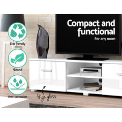 Artiss TV Cabinet Entertainment Unit Stand High Gloss Furniture Storage Drawers 140cm White